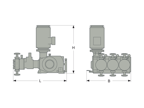 Process pump installation dimensions